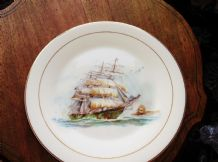 LARGE ELEGANT GILDED DISPLAY PLATE ROYAL KENT GALLEON SHIP EX COND 10.75""